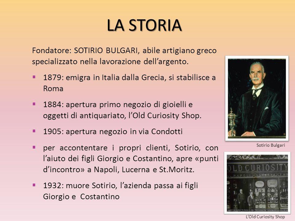 LA STORIA Fondatore: SOTIRIO BULGARI, abile artigiano greco specializzato nella lavorazione dell'argento.  1879: emigra in Italia dalla Grecia, si st