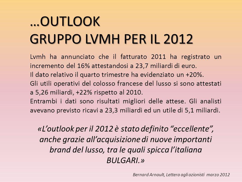 Lvmh ha annunciato che il fatturato 2011 ha registrato un incremento del 16% attestandosi a 23,7 miliardi di euro. Il dato relativo il quarto trimestr