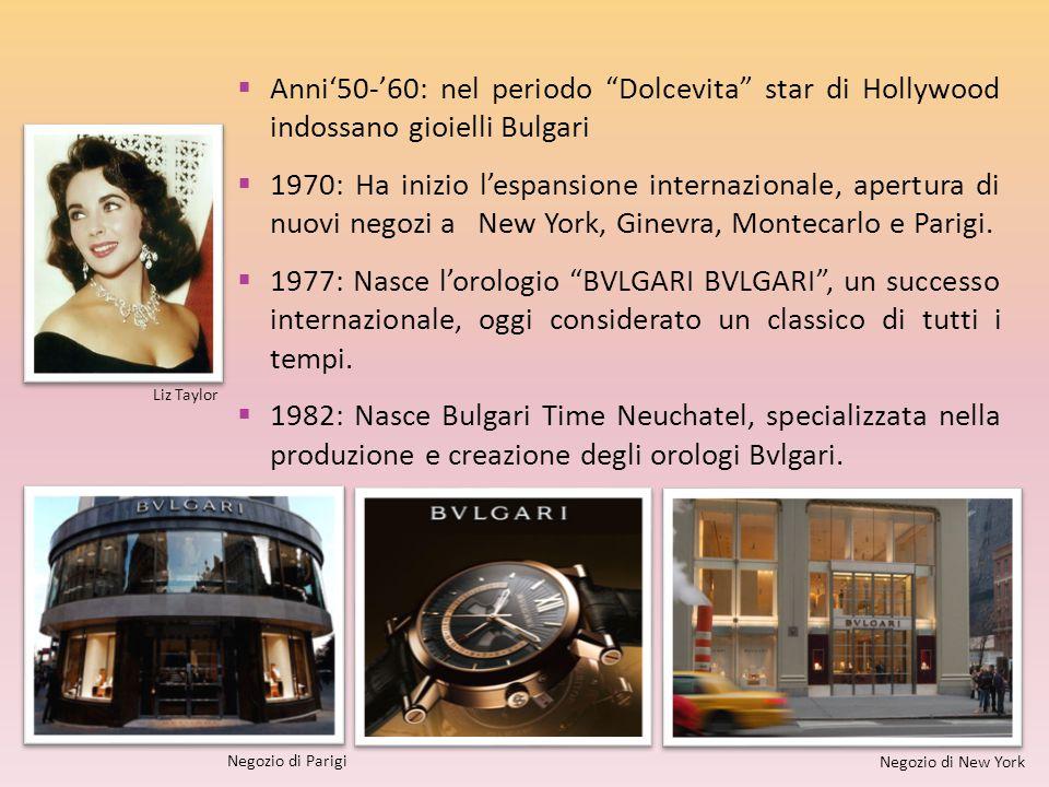 """ Anni'50-'60: nel periodo """"Dolcevita"""" star di Hollywood indossano gioielli Bulgari  1970: Ha inizio l'espansione internazionale, apertura di nuovi n"""