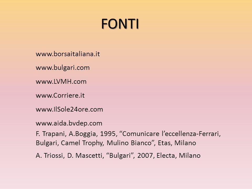 "FONTI www.borsaitaliana.it www.bulgari.com www.LVMH.com www.Corriere.it www.IlSole24ore.com www.aida.bvdep.com F. Trapani, A.Boggia, 1995, ""Comunicare"