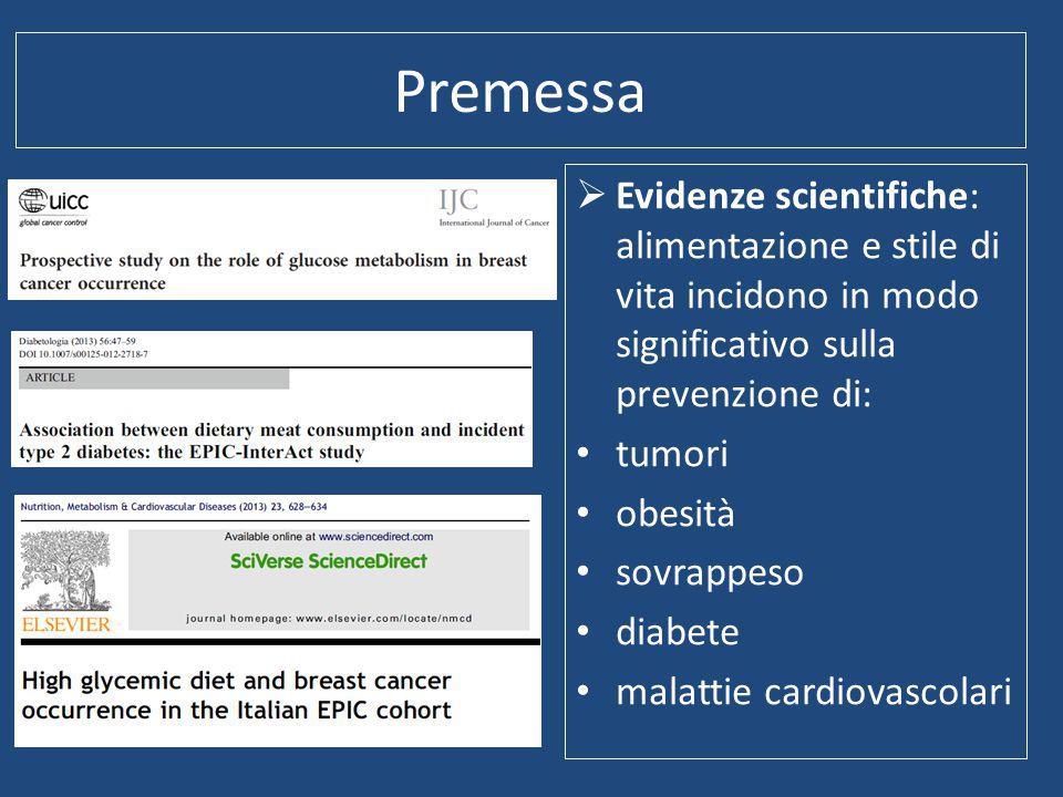 Premessa  Evidenze scientifiche: alimentazione e stile di vita incidono in modo significativo sulla prevenzione di: tumori obesità sovrappeso diabete malattie cardiovascolari