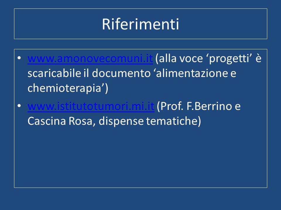 Riferimenti www.amonovecomuni.it (alla voce 'progetti' è scaricabile il documento 'alimentazione e chemioterapia') www.amonovecomuni.it www.istitutotumori.mi.it (Prof.