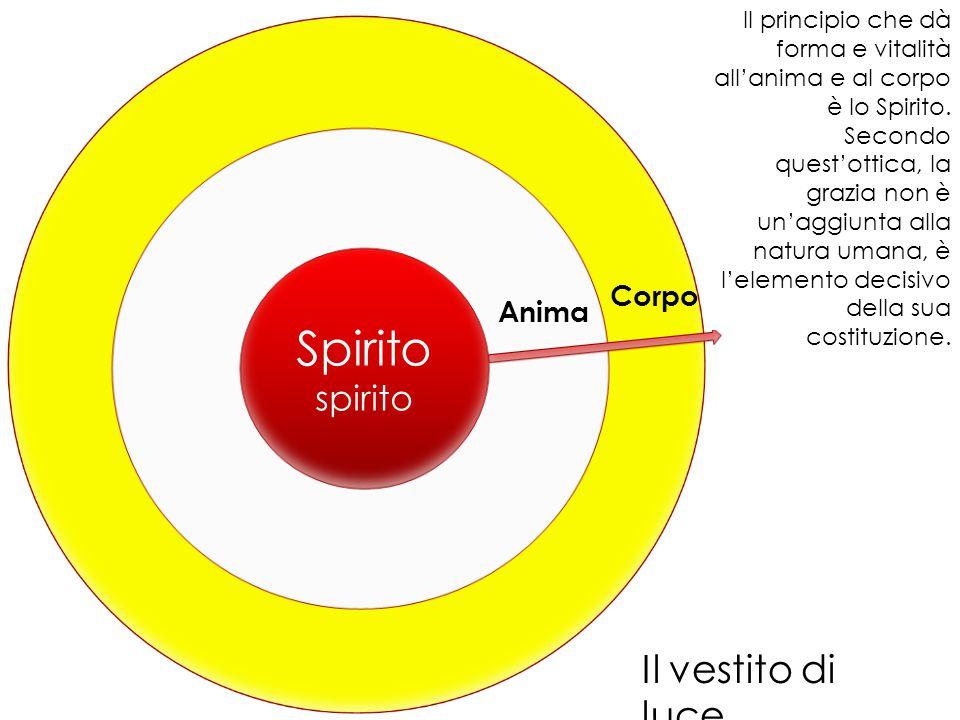 Spirito spirito Anima Corpo Il principio che dà forma e vitalità all'anima e al corpo è lo Spirito. Secondo quest'ottica, la grazia non è un'aggiunta