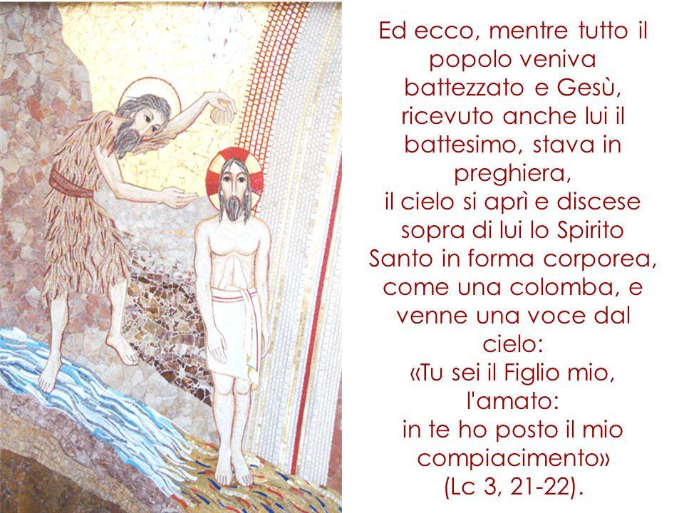 Ed ecco, mentre tutto il popolo veniva battezzato e Gesù, ricevuto anche lui il battesimo, stava in preghiera, il cielo si aprì e discese sopra di lui