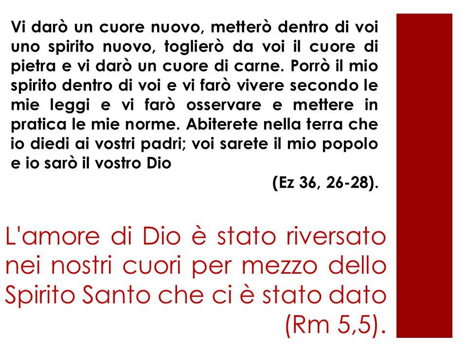 L'amore di Dio è stato riversato nei nostri cuori per mezzo dello Spirito Santo che ci è stato dato (Rm 5,5). Vi darò un cuore nuovo, metterò dentro d