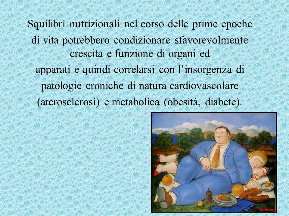 Squilibri nutrizionali nel corso delle prime epoche di vita potrebbero condizionare sfavorevolmente crescita e funzione di organi ed apparati e quindi