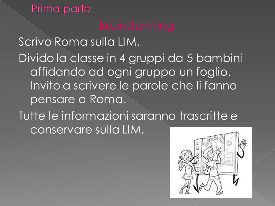 Brainstorming Scrivo Roma sulla LIM. Divido la classe in 4 gruppi da 5 bambini affidando ad ogni gruppo un foglio. Invito a scrivere le parole che li