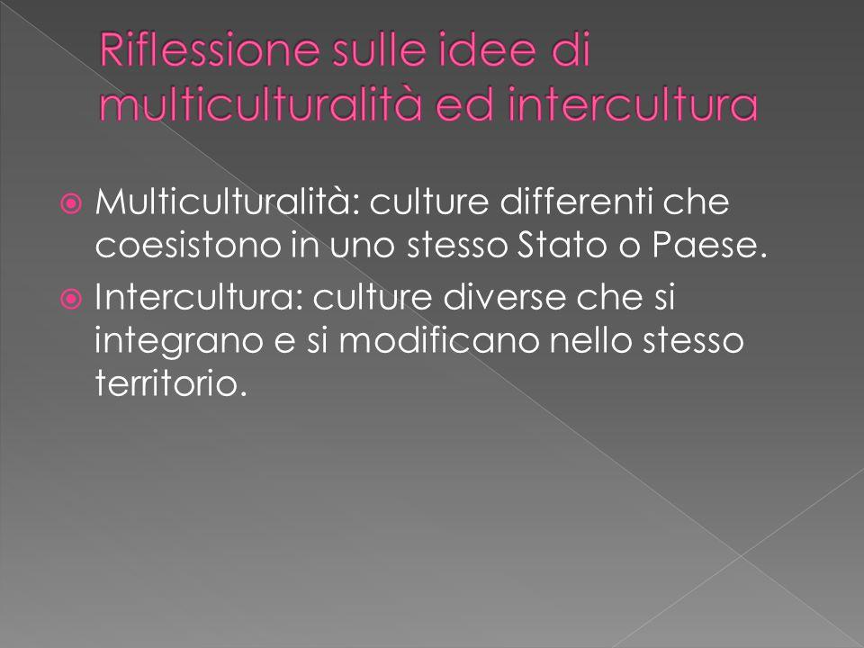  Multiculturalità: culture differenti che coesistono in uno stesso Stato o Paese.  Intercultura: culture diverse che si integrano e si modificano ne