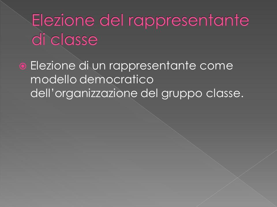  Elezione di un rappresentante come modello democratico dell'organizzazione del gruppo classe.