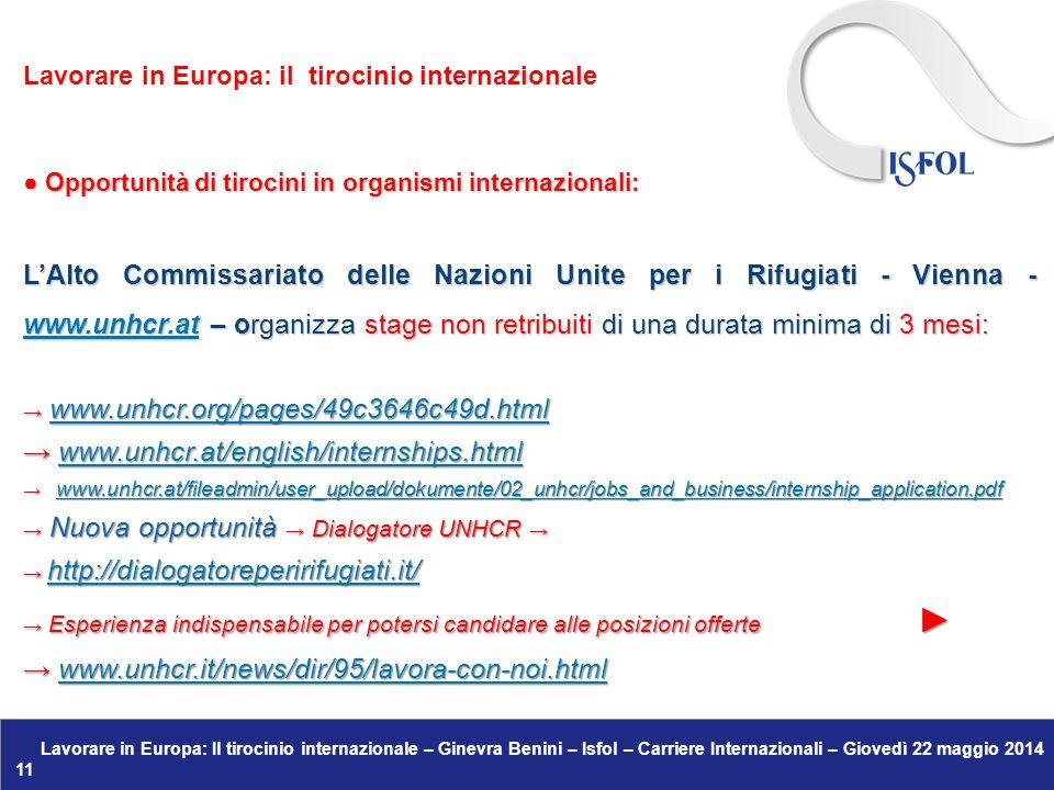 Lavorare in Europa: Il tirocinio internazionale – Ginevra Benini – Isfol – Carriere Internazionali – Giovedì 22 maggio 2014 11 ● Opportunità di tirocini in organismi internazionali: L'Alto Commissariato delle Nazioni Unite per i Rifugiati - Vienna - www.unhcr.at – organizza stage non retribuiti di una durata minima di 3 mesi: www.unhcr.at → www.unhcr.org/pages/49c3646c49d.html www.unhcr.org/pages/49c3646c49d.html → www.unhcr.at/english/internships.html www.unhcr.at/english/internships.html → www.unhcr.at/fileadmin/user_upload/dokumente/02_unhcr/jobs_and_business/internship_application.pdf www.unhcr.at/fileadmin/user_upload/dokumente/02_unhcr/jobs_and_business/internship_application.pdf → Nuova opportunità → Dialogatore UNHCR → → http://dialogatoreperirifugiati.it/ http://dialogatoreperirifugiati.it/ → Esperienza indispensabile per potersi candidare alle posizioni offerte ► → www.unhcr.it/news/dir/95/lavora-con-noi.html www.unhcr.it/news/dir/95/lavora-con-noi.html Lavorare in Europa: il tirocinio internazionale