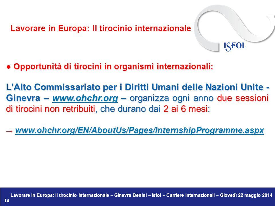 Lavorare in Europa: Il tirocinio internazionale – Ginevra Benini – Isfol – Carriere Internazionali – Giovedì 22 maggio 2014 14 ● Opportunità di tirocini in organismi internazionali: L'Alto Commissariato per i Diritti Umani delle Nazioni Unite - Ginevra – www.ohchr.org – organizza ogni anno due sessioni di tirocini non retribuiti, che durano dai 2 ai 6 mesi: www.ohchr.org → www.ohchr.org/EN/AboutUs/Pages/InternshipProgramme.aspx www.ohchr.org/EN/AboutUs/Pages/InternshipProgramme.aspx Lavorare in Europa: Il tirocinio internazionale