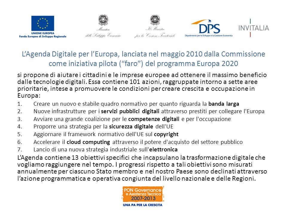 L'Agenda Digitale per l'Europa, lanciata nel maggio 2010 dalla Commissione come iniziativa pilota ( faro ) del programma Europa 2020 si propone di aiutare i cittadini e le imprese europee ad ottenere il massimo beneficio dalle tecnologie digitali.