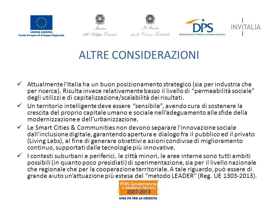 ALTRE CONSIDERAZIONI Attualmente l Italia ha un buon posizionamento strategico (sia per industria che per ricerca).