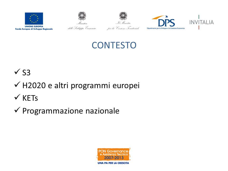 CONTESTO S3 H2020 e altri programmi europei KETs Programmazione nazionale