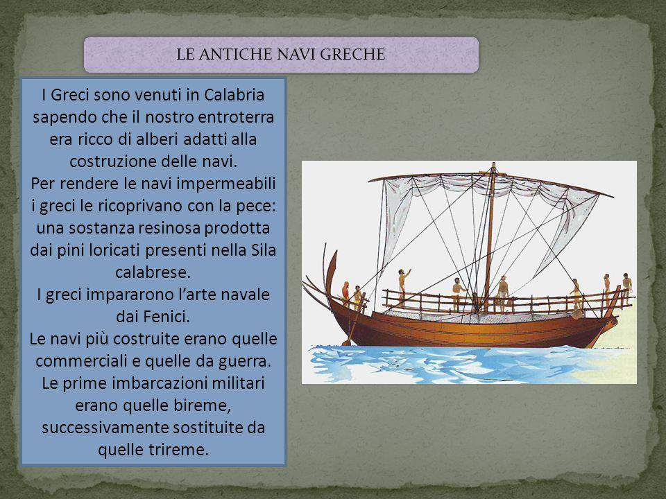 I Greci sono venuti in Calabria sapendo che il nostro entroterra era ricco di alberi adatti alla costruzione delle navi. Per rendere le navi impermeab