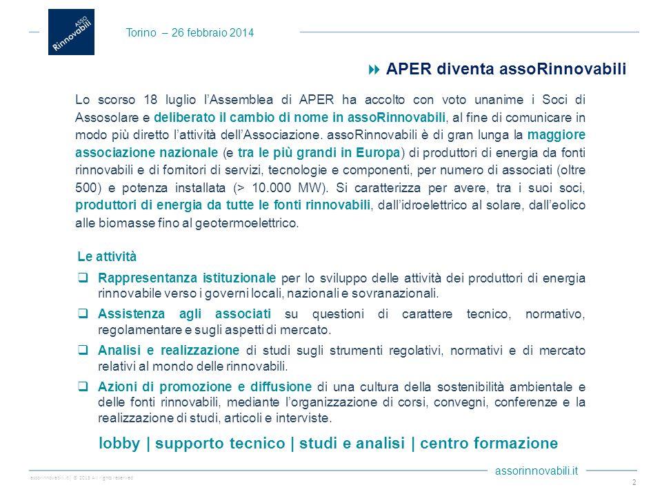 assorinnovabili.it| © 2013 All rights reserved assorinnovabili.it Le attività  Rappresentanza istituzionale per lo sviluppo delle attività dei produttori di energia rinnovabile verso i governi locali, nazionali e sovranazionali.
