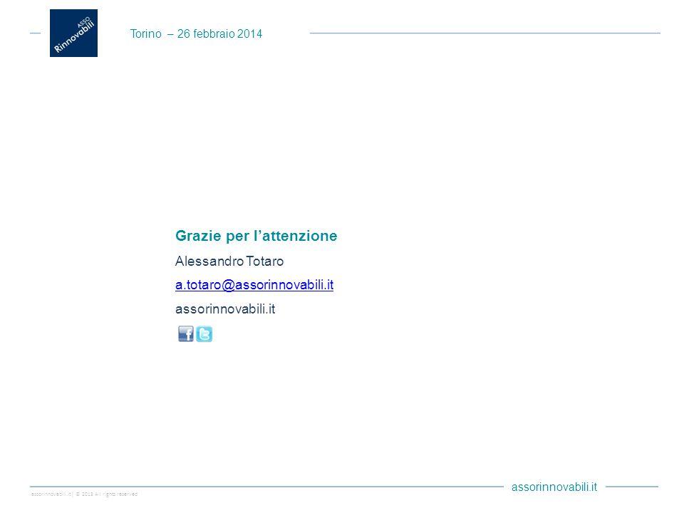 assorinnovabili.it| © 2013 All rights reserved assorinnovabili.it Grazie per l'attenzione Alessandro Totaro a.totaro@assorinnovabili.it assorinnovabili.it Torino – 26 febbraio 2014