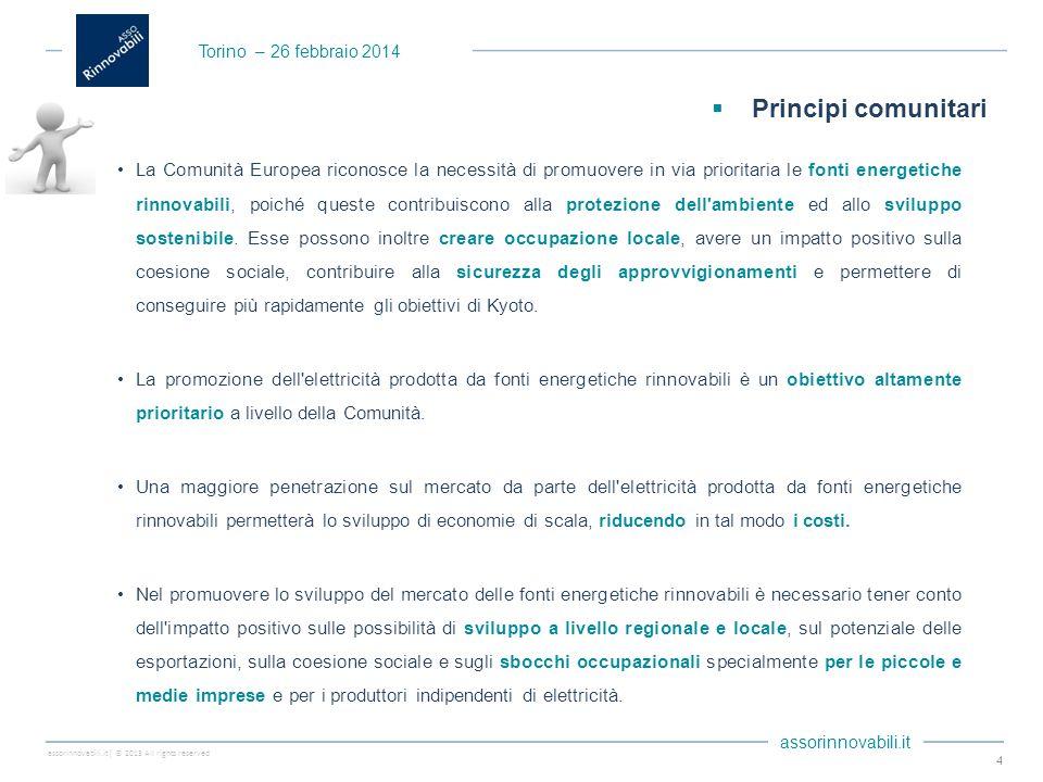 assorinnovabili.it| © 2013 All rights reserved assorinnovabili.it La Comunità Europea riconosce la necessità di promuovere in via prioritaria le fonti energetiche rinnovabili, poiché queste contribuiscono alla protezione dell ambiente ed allo sviluppo sostenibile.