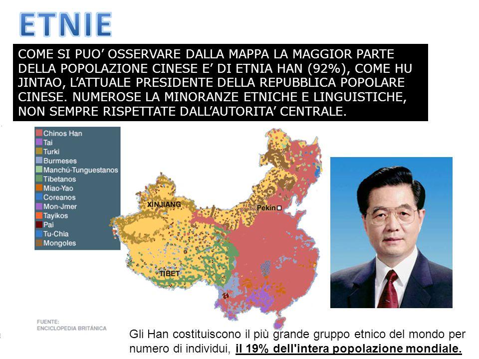 COME SI PUO' OSSERVARE DALLA MAPPA LA MAGGIOR PARTE DELLA POPOLAZIONE CINESE E' DI ETNIA HAN (92%), COME HU JINTAO, L'ATTUALE PRESIDENTE DELLA REPUBBL