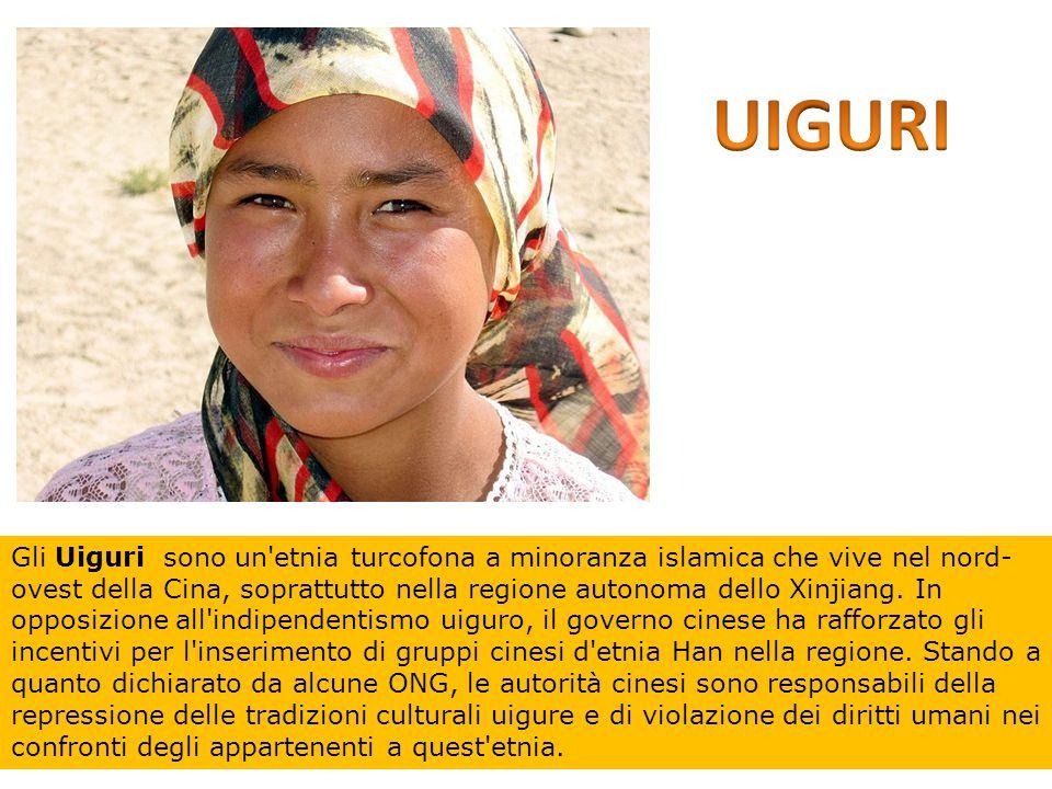 Gli Uiguri sono un'etnia turcofona a minoranza islamica che vive nel nord- ovest della Cina, soprattutto nella regione autonoma dello Xinjiang. In opp