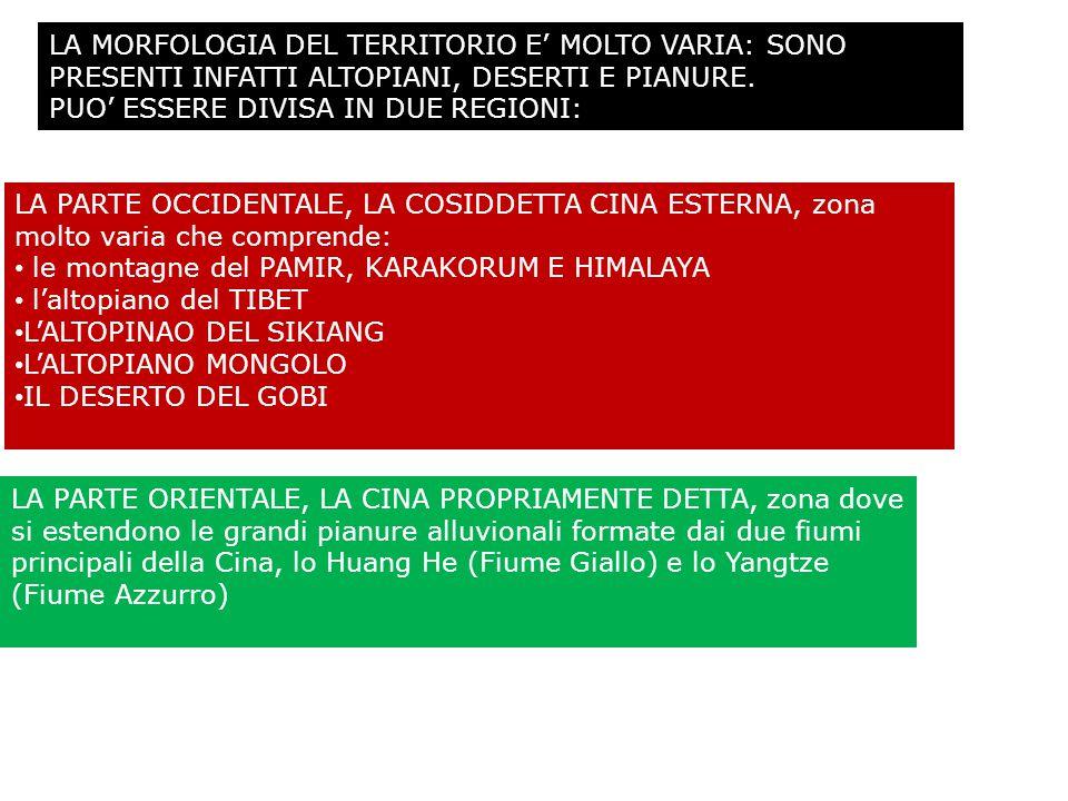 LA MORFOLOGIA DEL TERRITORIO E' MOLTO VARIA: SONO PRESENTI INFATTI ALTOPIANI, DESERTI E PIANURE.