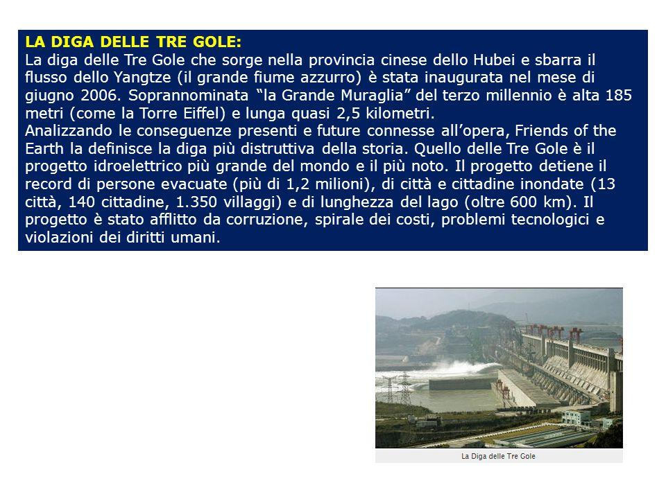 LA DIGA DELLE TRE GOLE: La diga delle Tre Gole che sorge nella provincia cinese dello Hubei e sbarra il flusso dello Yangtze (il grande fiume azzurro) è stata inaugurata nel mese di giugno 2006.