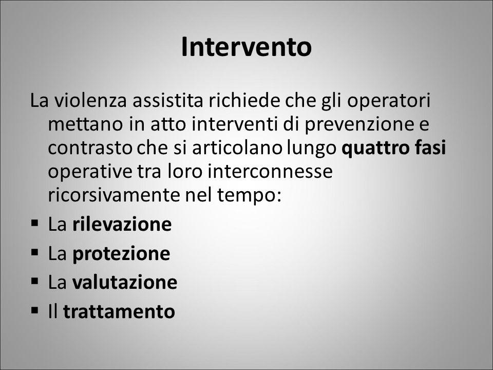 Intervento La violenza assistita richiede che gli operatori mettano in atto interventi di prevenzione e contrasto che si articolano lungo quattro fasi