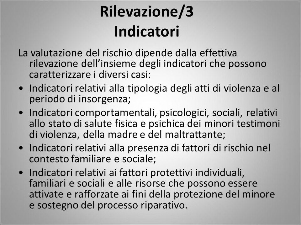 Rilevazione/3 Indicatori La valutazione del rischio dipende dalla effettiva rilevazione dell'insieme degli indicatori che possono caratterizzare i div