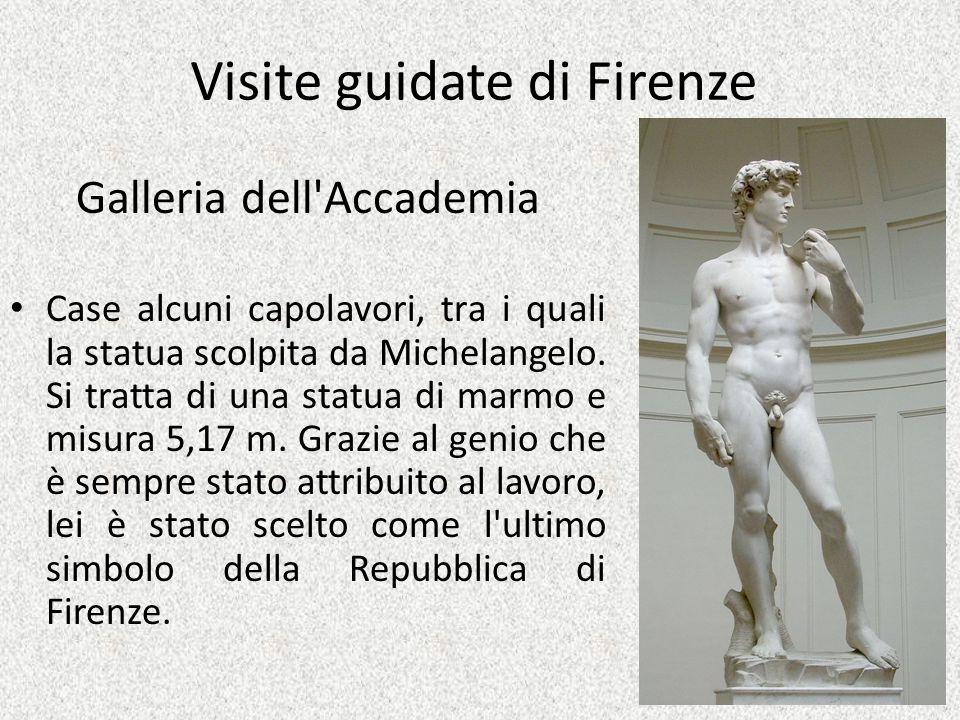 Visite guidate di Firenze Galleria dell'Accademia Case alcuni capolavori, tra i quali la statua scolpita da Michelangelo. Si tratta di una statua di m