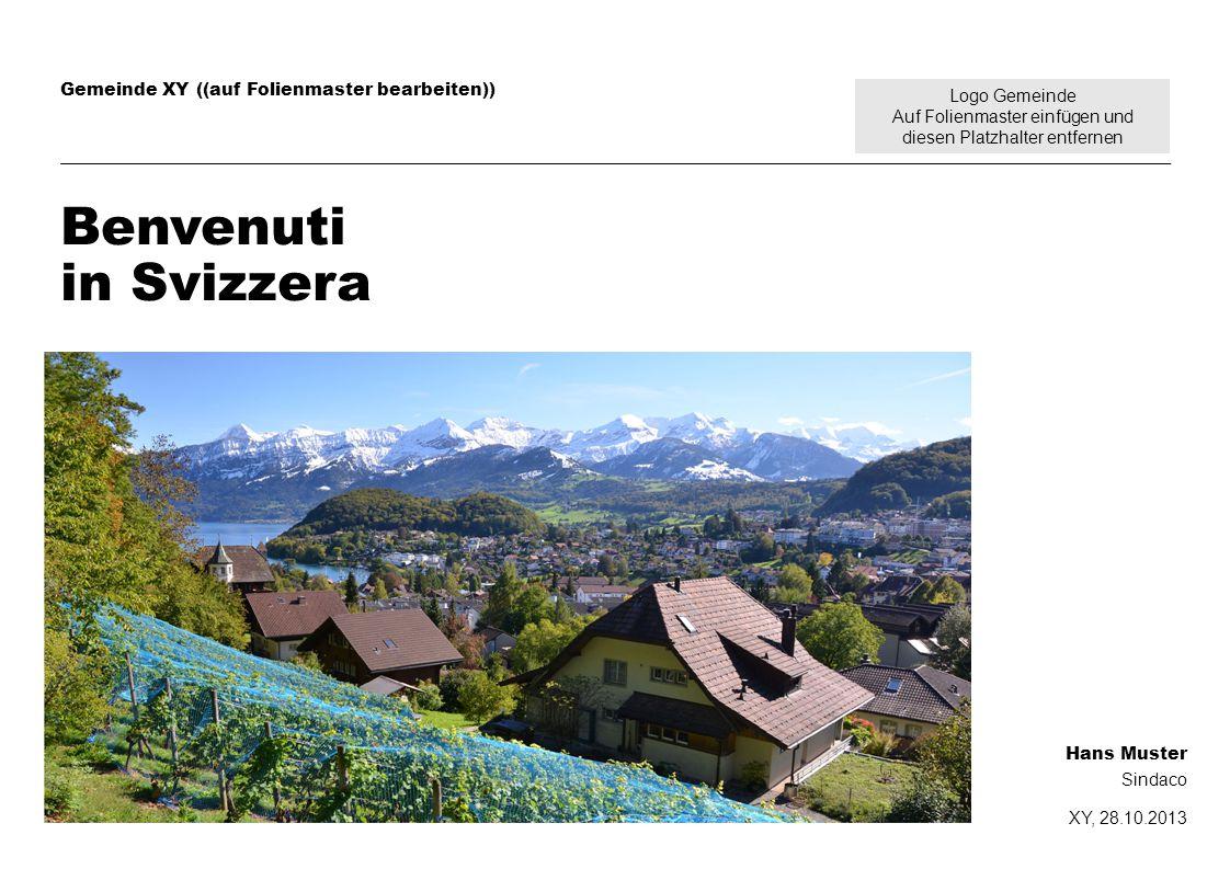 Logo Gemeinde Auf Folienmaster einfügen und diesen Platzhalter entfernen Gemeinde XY ((auf Folienmaster bearbeiten)) Benvenuti in Svizzera Hans Muster Sindaco XY, 28.10.2013