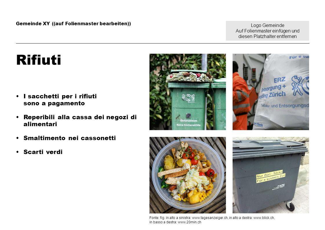 Logo Gemeinde Auf Folienmaster einfügen und diesen Platzhalter entfernen Gemeinde XY ((auf Folienmaster bearbeiten)) Rifiuti I sacchetti per i rifiuti