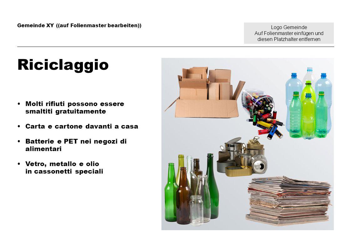 Logo Gemeinde Auf Folienmaster einfügen und diesen Platzhalter entfernen Gemeinde XY ((auf Folienmaster bearbeiten)) Riciclaggio Molti rifiuti possono