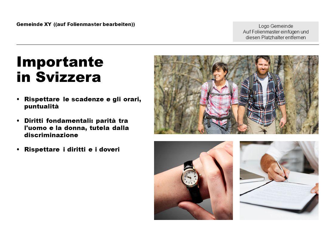 Logo Gemeinde Auf Folienmaster einfügen und diesen Platzhalter entfernen Gemeinde XY ((auf Folienmaster bearbeiten)) Importante in Svizzera Rispettare