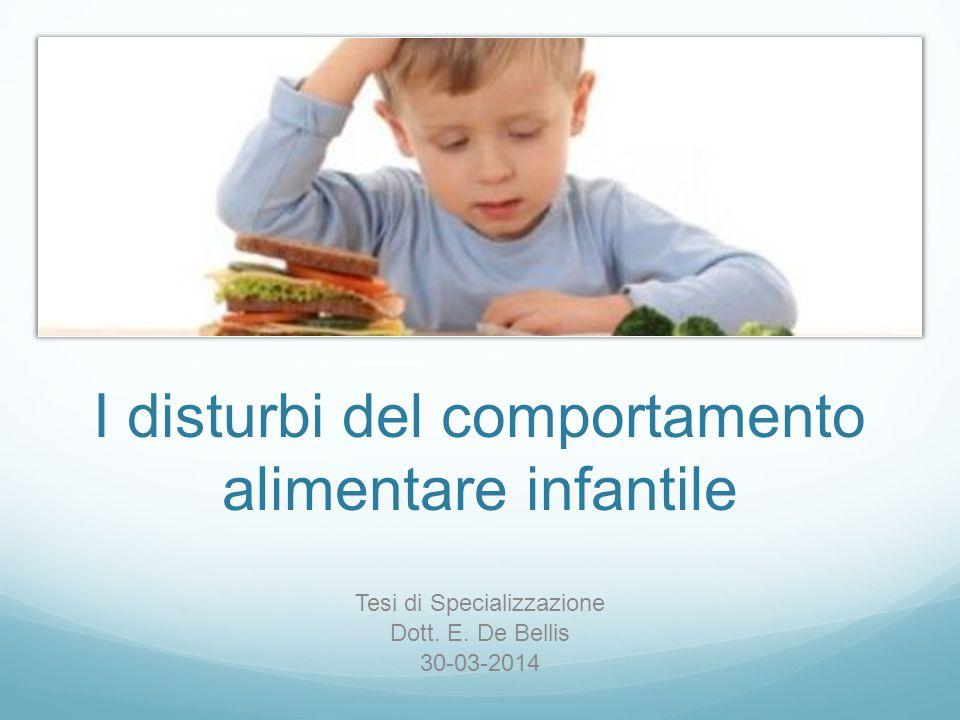 I disturbi del comportamento alimentare infantile Tesi di Specializzazione Dott. E. De Bellis 30-03-2014