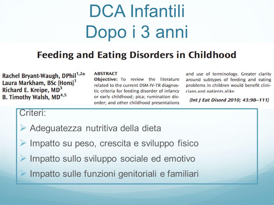DCA Infantili Dopo i 3 anni Criteri:  Adeguatezza nutritiva della dieta  Impatto su peso, crescita e sviluppo fisico  Impatto sullo sviluppo social