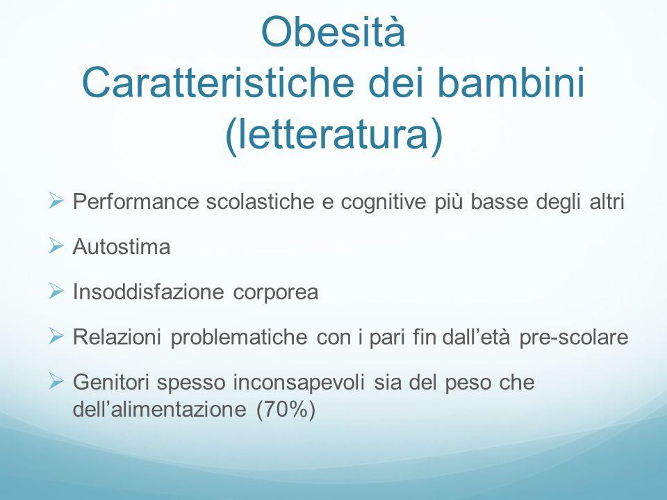 Obesità Caratteristiche dei bambini (letteratura)  Performance scolastiche e cognitive più basse degli altri  Autostima  Insoddisfazione corporea 
