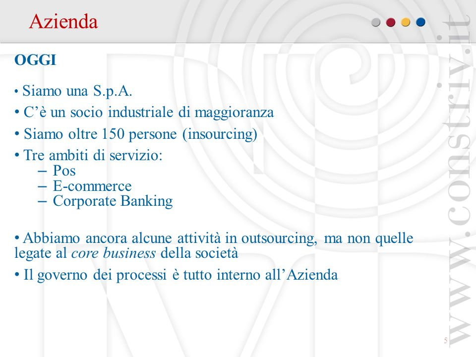 6 Azionariato Composizione societaria Bassilichi S.p.A.50,80 % Gruppo MPS10,13 % B.