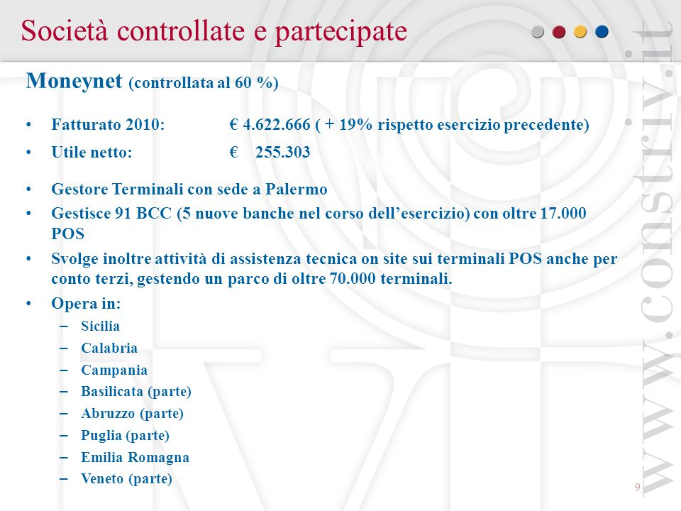 9 Società controllate e partecipate Moneynet (controllata al 60 %) Fatturato 2010: € 4.622.666 ( + 19% rispetto esercizio precedente) Utile netto:€ 255.303 Gestore Terminali con sede a Palermo Gestisce 91 BCC (5 nuove banche nel corso dell'esercizio) con oltre 17.000 POS Svolge inoltre attività di assistenza tecnica on site sui terminali POS anche per conto terzi, gestendo un parco di oltre 70.000 terminali.