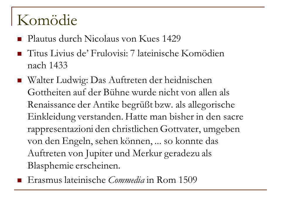 Komödie Plautus durch Nicolaus von Kues 1429 Titus Livius de' Frulovisi: 7 lateinische Komödien nach 1433 Walter Ludwig: Das Auftreten der heidnischen Gottheiten auf der Bühne wurde nicht von allen als Renaissance der Antike begrüßt bzw.