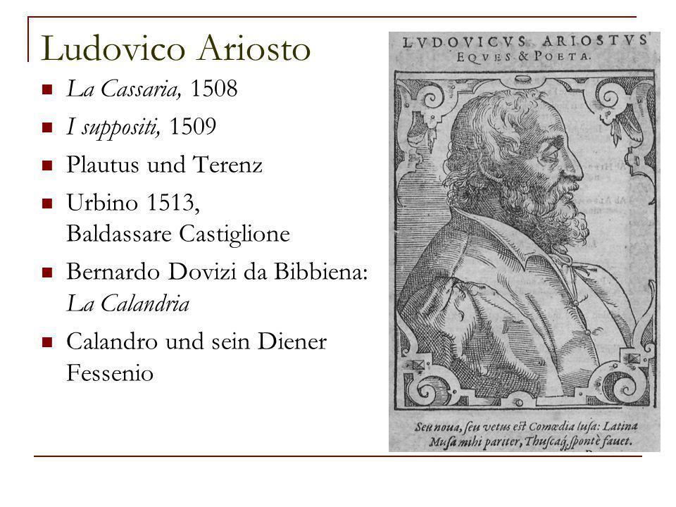 Ludovico Ariosto La Cassaria, 1508 I suppositi, 1509 Plautus und Terenz Urbino 1513, Baldassare Castiglione Bernardo Dovizi da Bibbiena: La Calandria Calandro und sein Diener Fessenio
