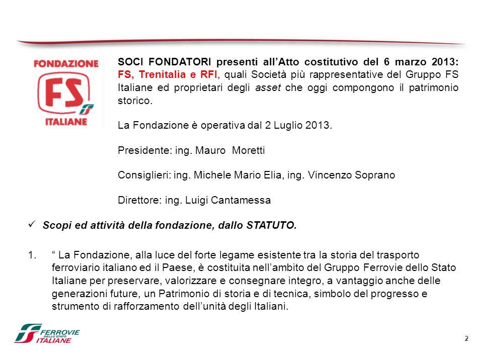 2 SOCI FONDATORI presenti all'Atto costitutivo del 6 marzo 2013: FS, Trenitalia e RFI, quali Società più rappresentative del Gruppo FS Italiane ed pro