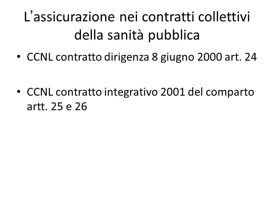 L ' assicurazione nei contratti collettivi della sanità pubblica CCNL contratto dirigenza 8 giugno 2000 art. 24 CCNL contratto integrativo 2001 del co