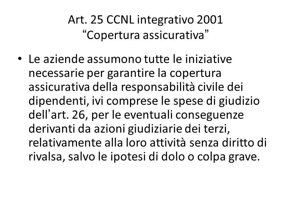 """Art. 25 CCNL integrativo 2001 """" Copertura assicurativa """" Le aziende assumono tutte le iniziative necessarie per garantire la copertura assicurativa de"""