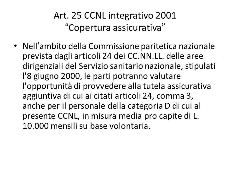"""Art. 25 CCNL integrativo 2001 """" Copertura assicurativa """" Nell ' ambito della Commissione paritetica nazionale prevista dagli articoli 24 dei CC.NN.LL."""