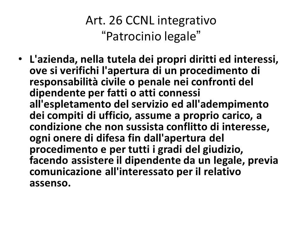 """Art. 26 CCNL integrativo """" Patrocinio legale """" L'azienda, nella tutela dei propri diritti ed interessi, ove si verifichi l'apertura di un procedimento"""
