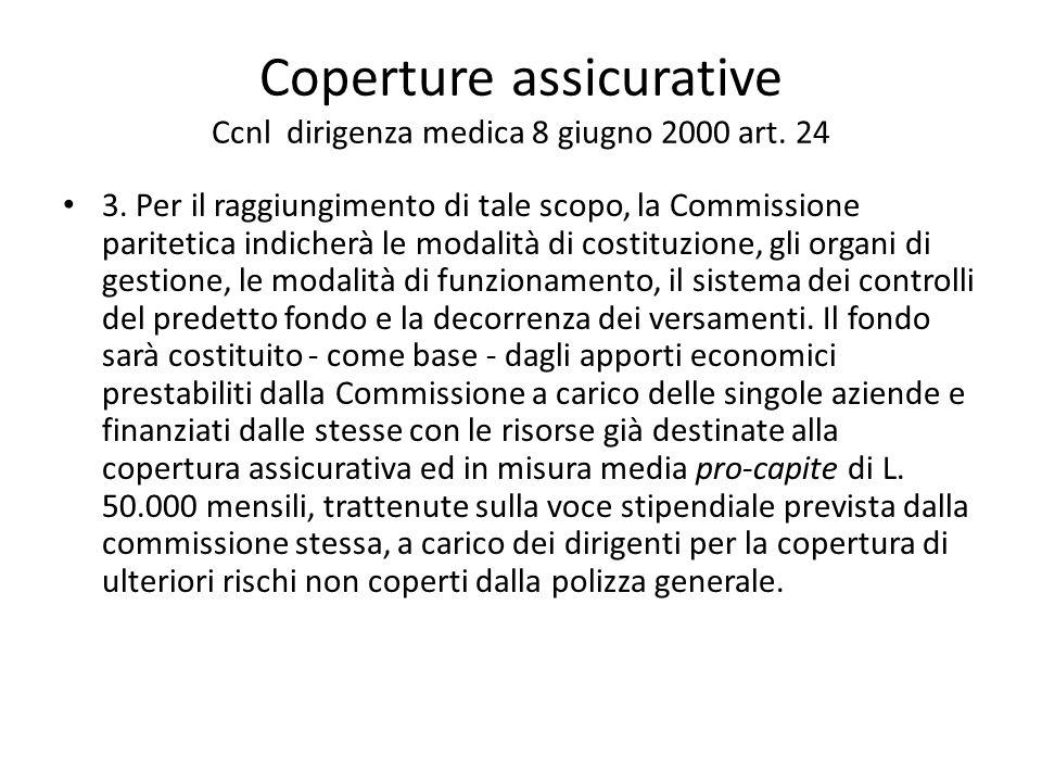 Coperture assicurative Ccnl dirigenza medica 8 giugno 2000 art. 24 3. Per il raggiungimento di tale scopo, la Commissione paritetica indicherà le moda