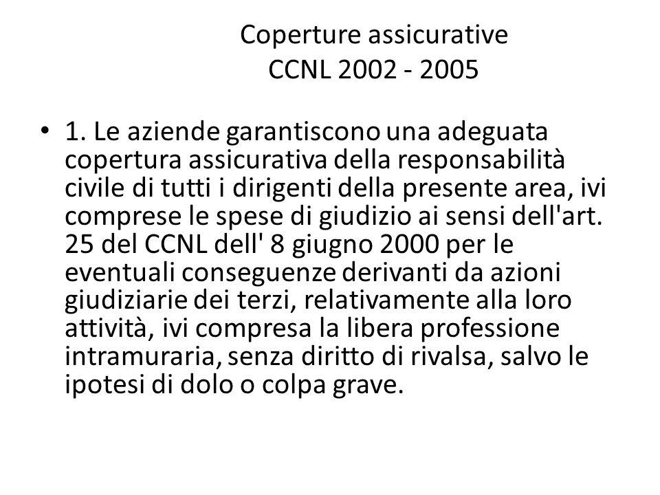 Coperture assicurative CCNL 2002 - 2005 1. Le aziende garantiscono una adeguata copertura assicurativa della responsabilità civile di tutti i dirigent