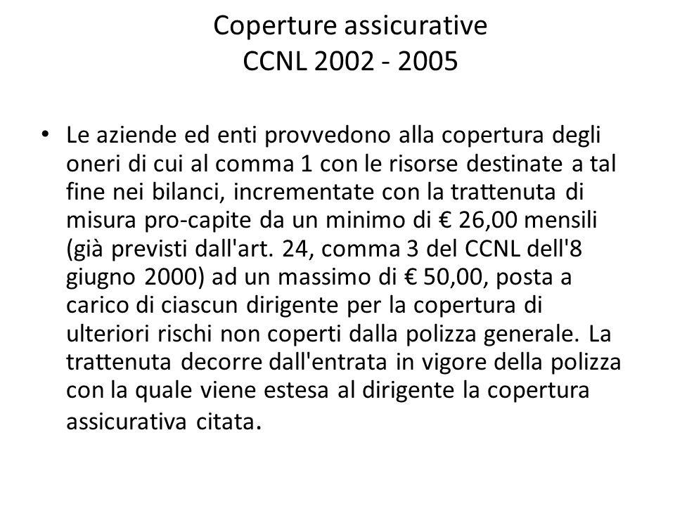 Coperture assicurative CCNL 2002 - 2005 Le aziende ed enti provvedono alla copertura degli oneri di cui al comma 1 con le risorse destinate a tal fine nei bilanci, incrementate con la trattenuta di misura pro-capite da un minimo di € 26,00 mensili (già previsti dall art.