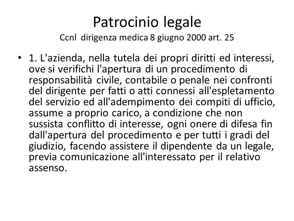Patrocinio legale Ccnl dirigenza medica 8 giugno 2000 art. 25 1. L'azienda, nella tutela dei propri diritti ed interessi, ove si verifichi l'apertura