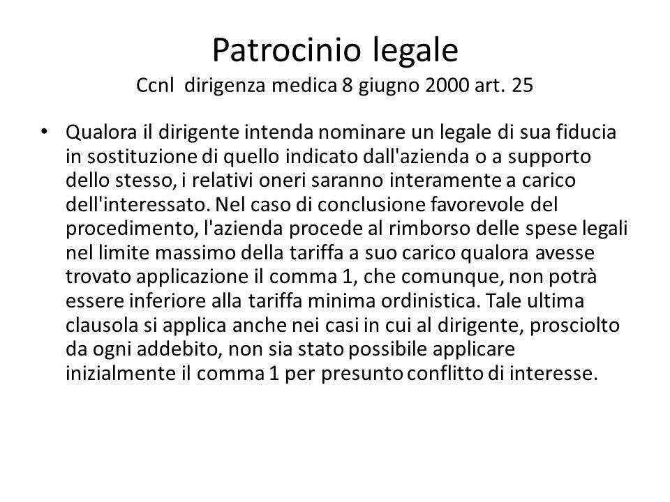 Patrocinio legale Ccnl dirigenza medica 8 giugno 2000 art. 25 Qualora il dirigente intenda nominare un legale di sua fiducia in sostituzione di quello